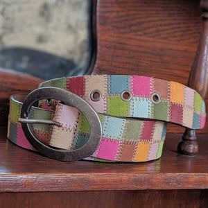 Fossil leather patchwork belt, size medium